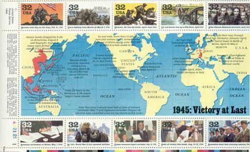 US Stamp #2981 – World War II – 1945 Plate Block/10