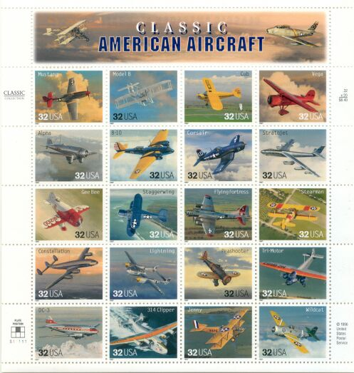 US Stamp #3142a-t MNH – American Aircraft – Full Sheet of 20
