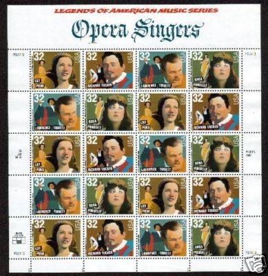 US Stamp #3154-7 MNH Opera Singers SeTenant Sheet/20