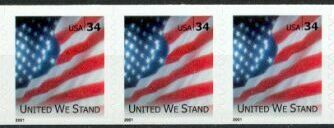 US Stamp #3550 MNH – United We Stand – Coil Strip of 3