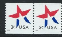 US Stamp #3615 MNH – 3 Cent Star Coil Pair