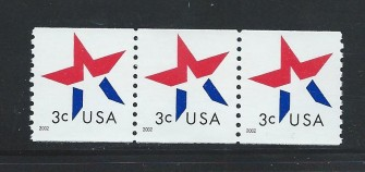 US Stamp #3615 MNH – 3 Cent Star Coil Strip of 3
