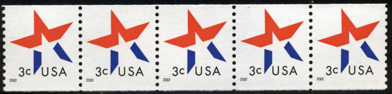 US Stamp #3615 MNH – 3 Cent Star – Coil Strip of 5