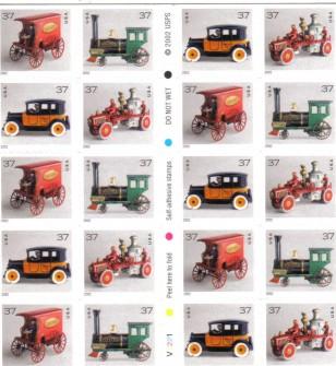 US Stamp #3645e MNH – Antique Toys Booklet of 20 – P#V1111
