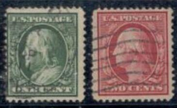 US Stamp # 374-375 Washington/Franklin – 1910-11 Regular Issue