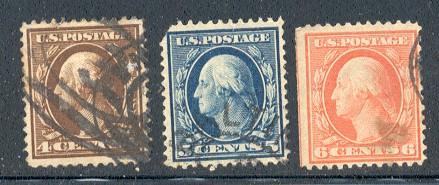 US Stamp # 377-379 – Washington/Franklin – 1910-11 Regular Issue