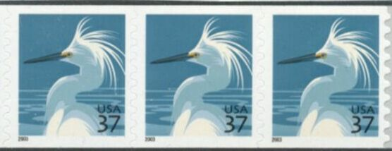 US Stamp #3829 MNH – Snowy Egret Coil Strip of 3 w/ Top 'Bell'