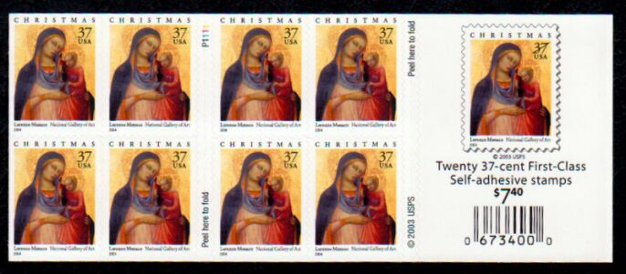 US Stamp #3879a MNH – Madonna and Child Pane of 20 w/ Plte. #P1111