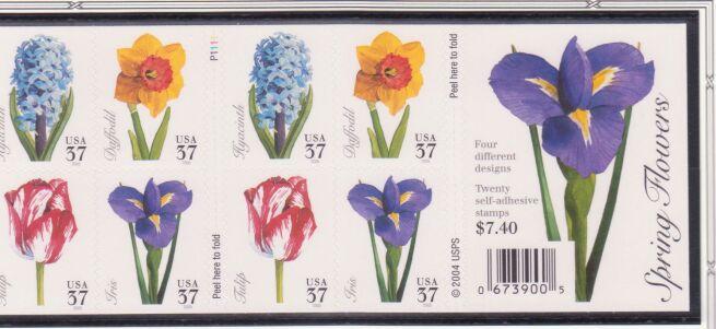 US Stamp #3903b MNH – Spring Flowers Pane of 20 w/ Plte. #P1111