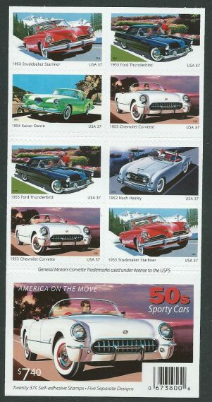 US Stamp #3935b MNH – 50s Sporty Cars Pane of 20 w/ Plte. #P1111