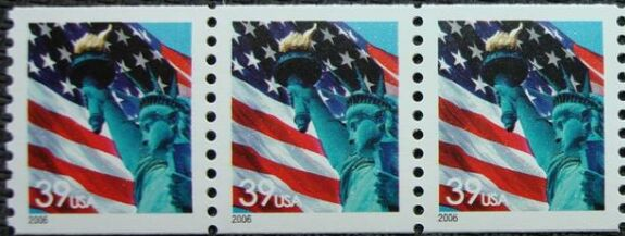 US Stamp #3979 MNH – Flag w/ Liberty Coil Strip of 3