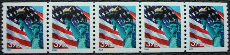 US Stamp #3979 MNH – Flag w/ Liberty Coil Strip of 5