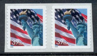 US Stamp #3980 MNH – Flag w/ Liberty – Coil Pair