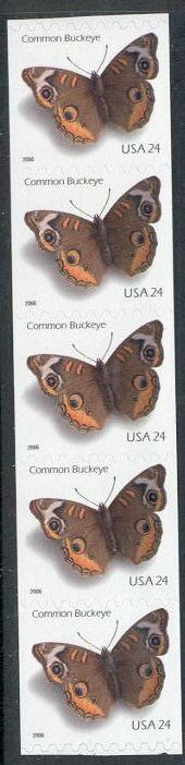US Stamp #4002 MNH – Common Buckeye Butterfly – Coil Strip of 5