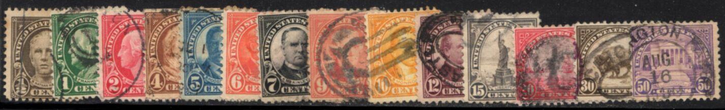 US Stamp # 551//570 used Perf. 11 – 1922-25 Regular Issue