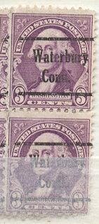 US Stamp # 720×230 G. Washington Pr. w/ Waterbury CT Precancel
