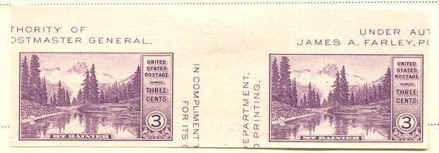 US Stamp # 770a – GREAT – Farley Special Printing Horiz. Pair