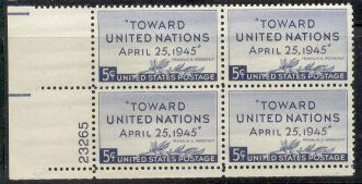 US Stamp #928 MNH – United Nations – Plate Block / 4