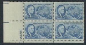 US Stamp #933 MNH – F.D. Roosevelt – Plate Block / 4