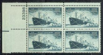 US Stamp #939 MNH – U.S. Merchant Marine – Plate Block of 4