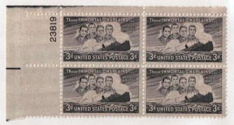 US Stamp #956 MNH – Four Chaplains – Plate Block / 4