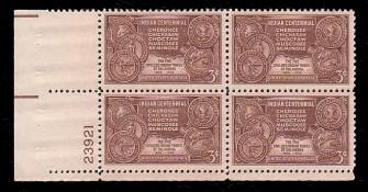 US Stamp #972 MNH – Indian Centennial – Plate Block / 4