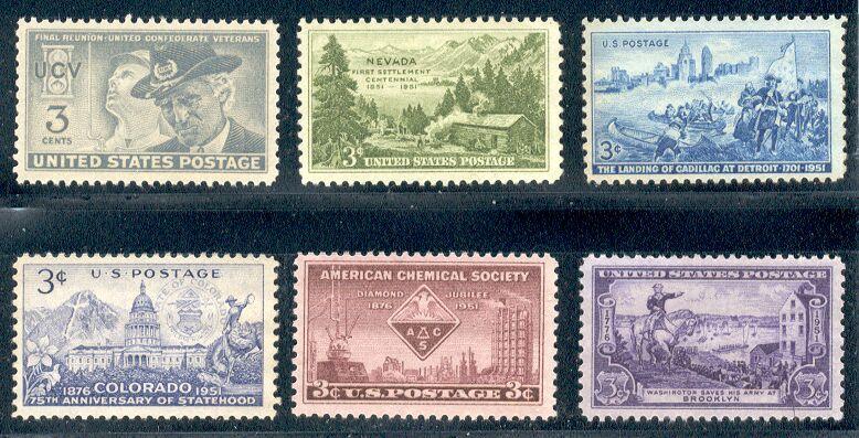 US Stamp # 998-1003 – MNH 1951 Commememoratives