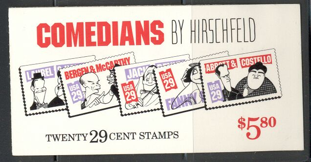US Stamp #BK191 MNH – Comedians w/ 2 #2566a Panes Plate #1