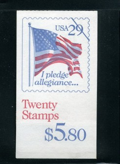 "US Stamp #BK196 – ""I Pledge Allegiance…."" w/ 2 Panes #2593a"