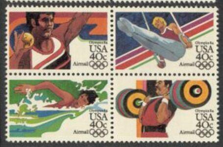 US Stamp #C105-8a MNH – 40c USA AirMail – ZIP Block of 4
