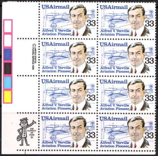 US Stamp #C113 MNH – A. Verville AirMail ZIP/MI Block of 8