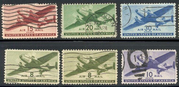 US Stamp #C 25-30 – Twin Motored Transport Short Set