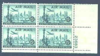US Stamp #C 35 MNH – New York Skyline Plate Block of 4