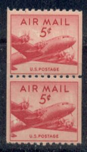 US Stamp #C 37 MNH – DC 4 Skymaster Coil Pair