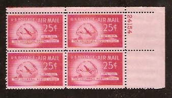 US Stamp #C 44 MNH – 25c USA AirMail Plate Block of 4