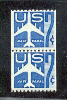 US Stamp #C 52 MNH Jet Silhouette Blue Coil Line Pair