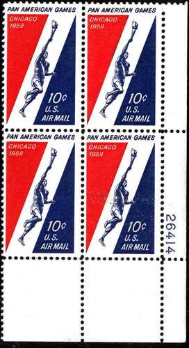 US Stamp #C 56 MNH – Pan American Games Plate Block of 4