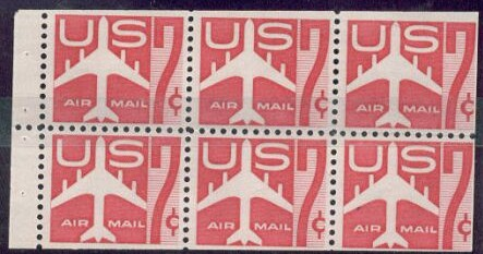 US Stamp #C60a – Red 7c Jet Silhouette Booklet Pane