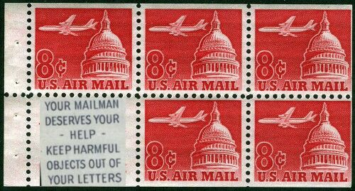 US Stamp #C64b – Jet Over the Capitol Booklet Pane