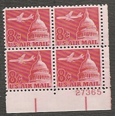 US Stamp #C 64 MNH – 8c USA AirMail No Tag – Plate Block of 4