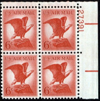 US Stamp #C 67 MNH – 6c USA AirMail – Plate Block of 4