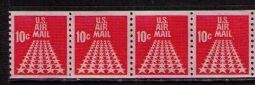 US Stamp #C 73 MNH – 10c USA AirMail Coil Strip of 4