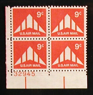 US Stamp #C 77 MNH – 9c USA AirMail Plate Block of 4