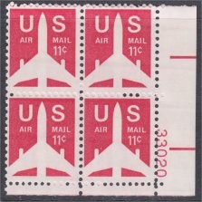 US Stamp #C 78 MNH – 11c USA AirMail – Plate Block of 4