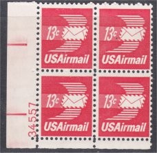 US Stamp #C 79 MNH – 13c USA AirMail Plate Block of 4