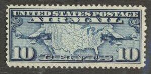US Stamp #C  7 MNH – Map and Bi-Planes
