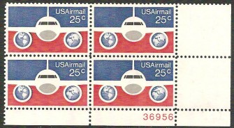 US Stamp #C 89 MNH – 25c USA AirMail Plate Block of 4
