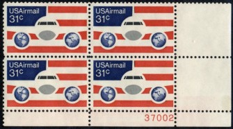 US Stamp #C090 MNH – 31c USA AirMail – Plate Block of 4