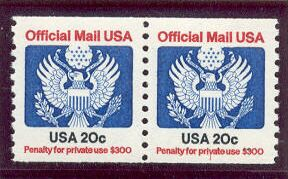 US Stamp #O135 MNH – Official – Coil Pair