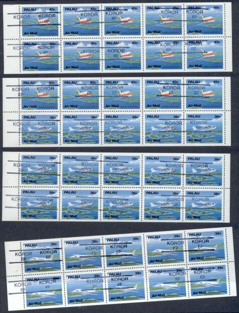 Palau – 4 MNH Unfolded/Unbound Airmail Precancelld Bklt.Pns.